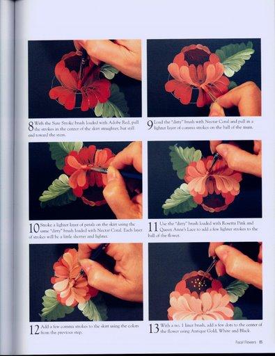 Цветы в стиле Жостова. Техника рисования 58890